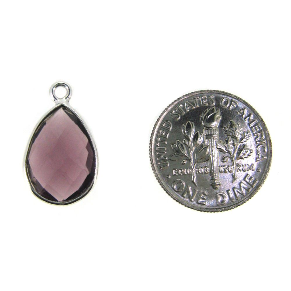 Bezel Gemstone Pendant -Sterling Silver Gem- 10x14mm Faceted Small Teardop Shape - Pink Amethyst Quartz (sold per 2 pieces)