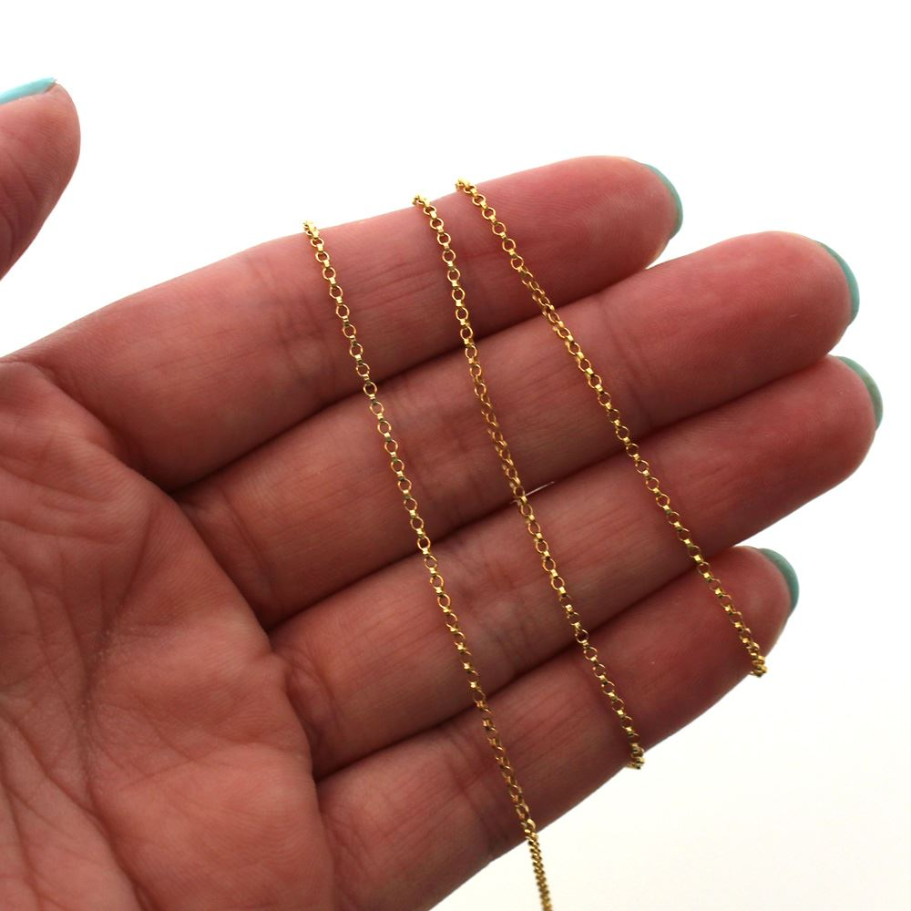 1/20 14K Gold Filled Chain - Rolo Chain-Unfinished Bulk Chain -1mm Rolo Chain