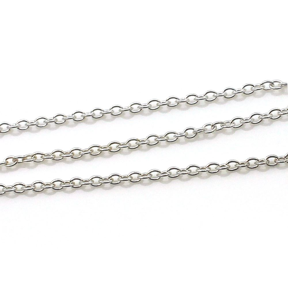 925 Sterling Silver Chain, Unfinished Bulk Chain, Cable Oval, 2.8mm x 3.5mm Cable Chain