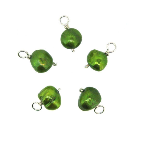 Dyed Green Freshwater Pearl Beads-Wire Wrapped Green Pearl Charms 6-8mm (pack of 5 pcs)