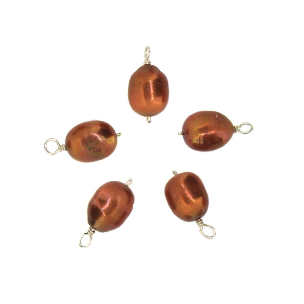Dyed Bronze Freshwater Pearl Beads-Wire Wrapped Bronze Pearl Charms 9-11.5mm (pack of 5 pcs)
