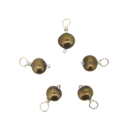 Dyed Light Brown Freshwater Pearl Beads-Wire Wrapped Light Brown Pearl Charms 5-6mm (pack of 5 pcs)