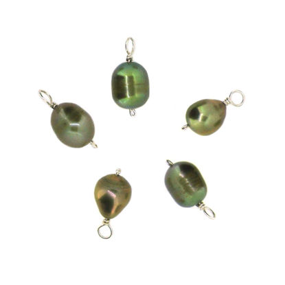 Dyed Green Freshwater Pearl Beads-Wire Wrapped Green Pearl Charms 7.5-9.5mm (pack of 5 pcs)