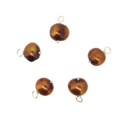 Dyed Bronze Freshwater Pearl Beads-Wire Wrapped Bronze Pearl Charms 7.5-9mm (pack of 5 pcs)