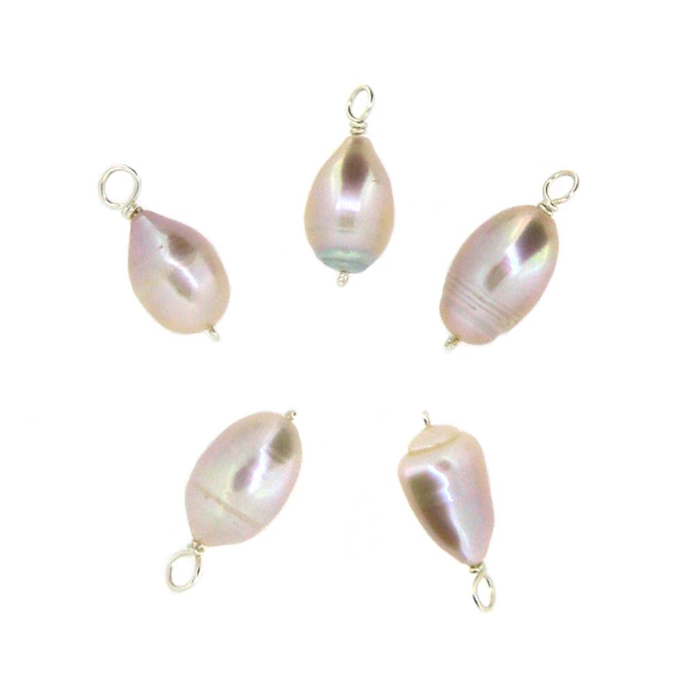 Pink Freshwater Pearl Beads-Wire Wrapped Pink Pearl Charms 7-12mm (pack of 5 pcs)