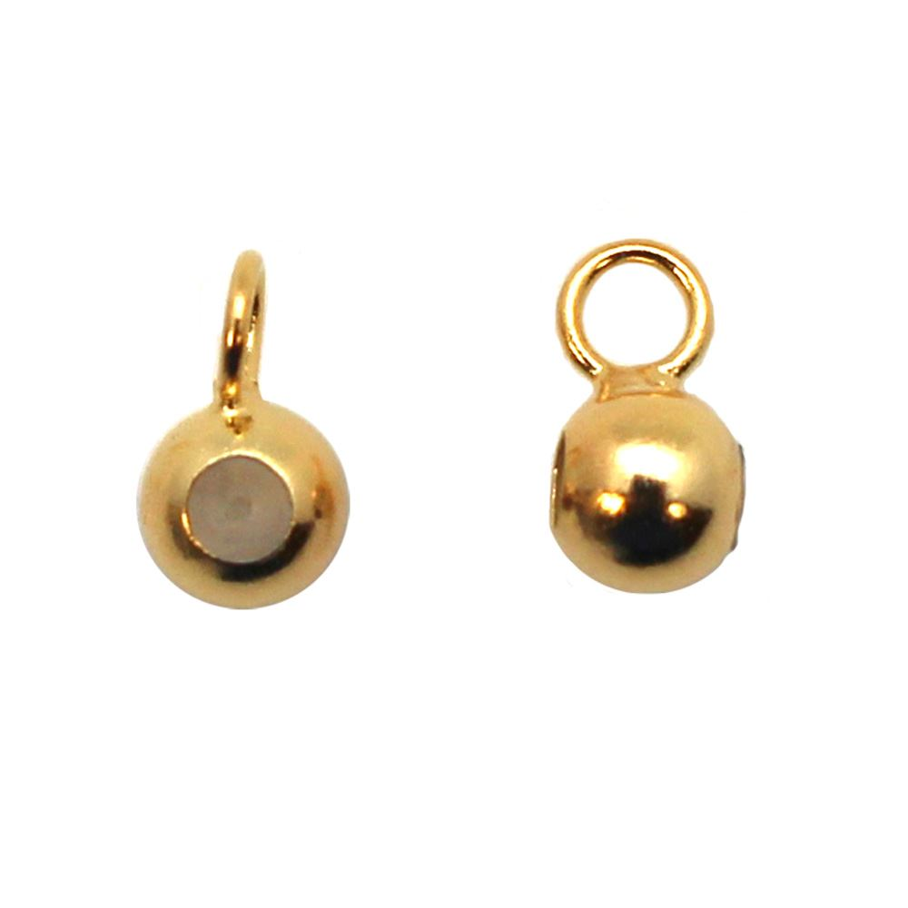 Gold Plated Sterling Silver Sliding End Beads with Silicone-4mm (sold per 2 pcs)
