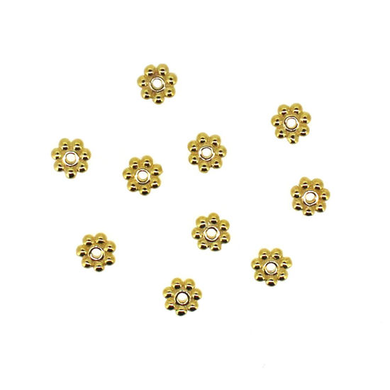 Gold Plated Sterling Silver Findings - Daisy Spacers - 4mm (10 pcs)