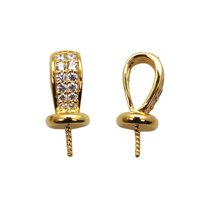 Gold Plated 925 Sterling Silver with CZ Stones, Fancy Bead Cap, Bead Cap with Post and Bail (1 pc)