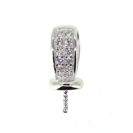 925 Sterling Silver with CZ Stones, Fancy Bead Cap, Bead Cap with Post and Bail (1 pc)
