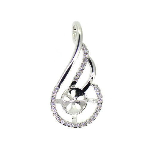 Sterling Silver and CZ Stone Fancy Pearl Cup Bail for Half-Drilled Pearls