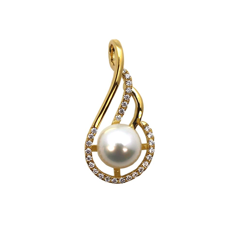 Gold Plated Sterling Silver and CZ Stone Fancy Pearl Cup Bail for Half-Drilled Pearls
