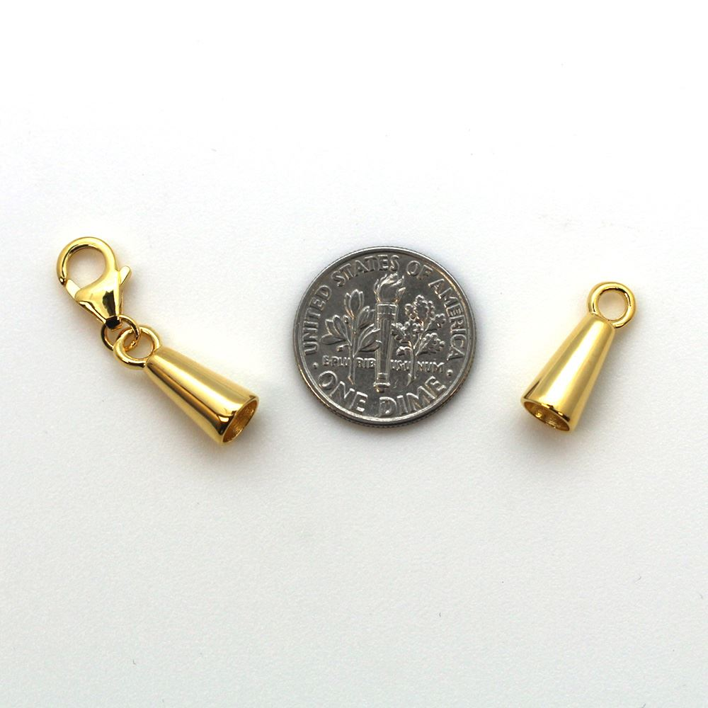 Gold Plated Sterling Silver Tube End and Clasp Set - 6mm Tube End Caps (Sold per 1 set)