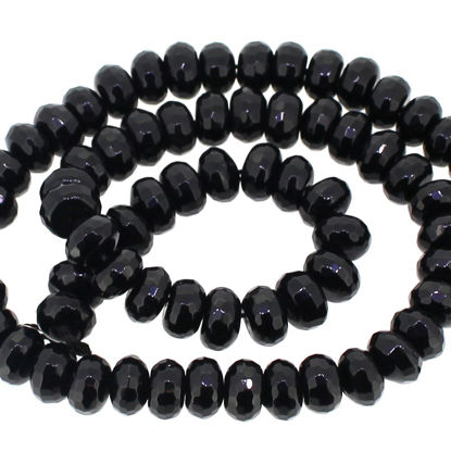 Faceted Black Onyx Rondelle Beads (8.5x5mm- 20 beads)