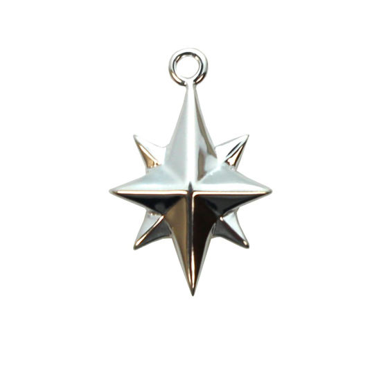 925 Sterling Silver Northstar Charm - Northern Star-Silver Star Charms -13 mm  (1 pc)