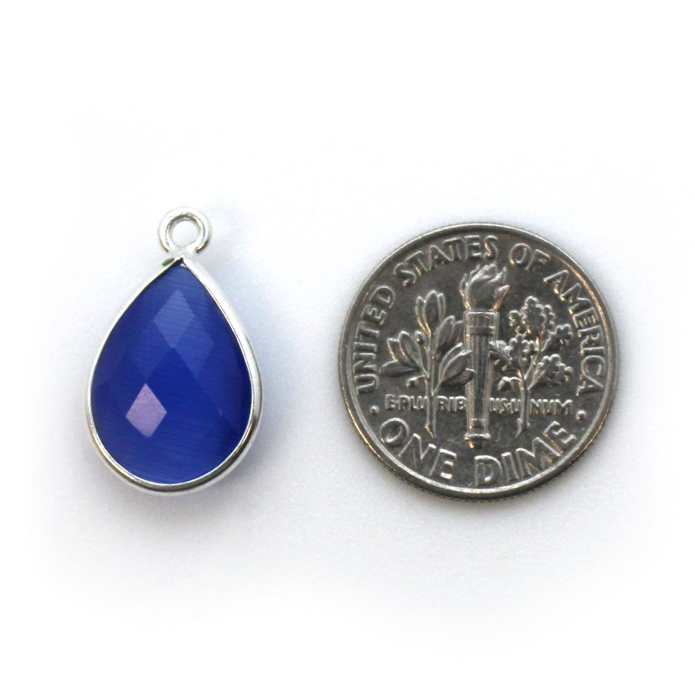 Bezel Gemstone Pendant -Sterling Silver Gem- 10x14mm Faceted Small Teardop Shape - Blue Monalisa (sold per 2 pieces)