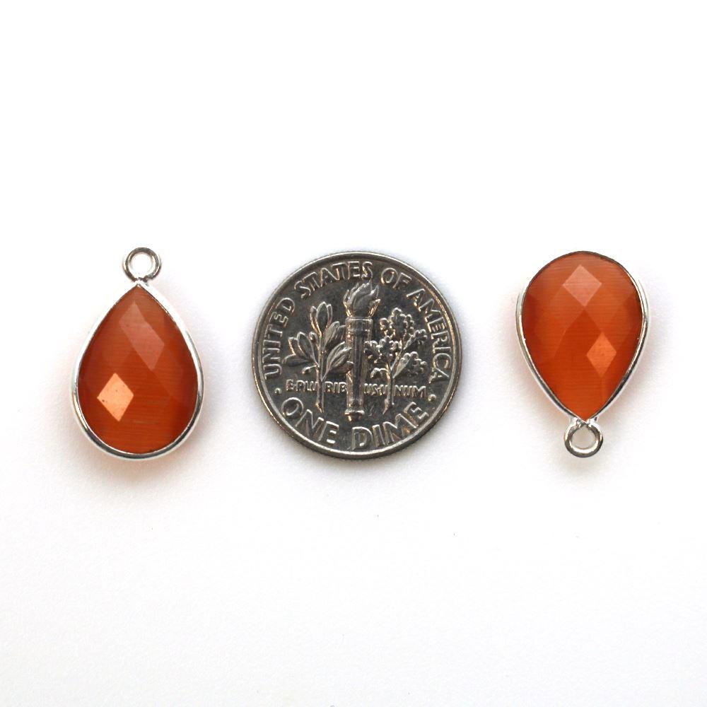 Bezel Gemstone Pendant -Sterling Silver Gem- 10x14mm Faceted Small Teardop Shape - Orange Monalisa (sold per 2 pieces)
