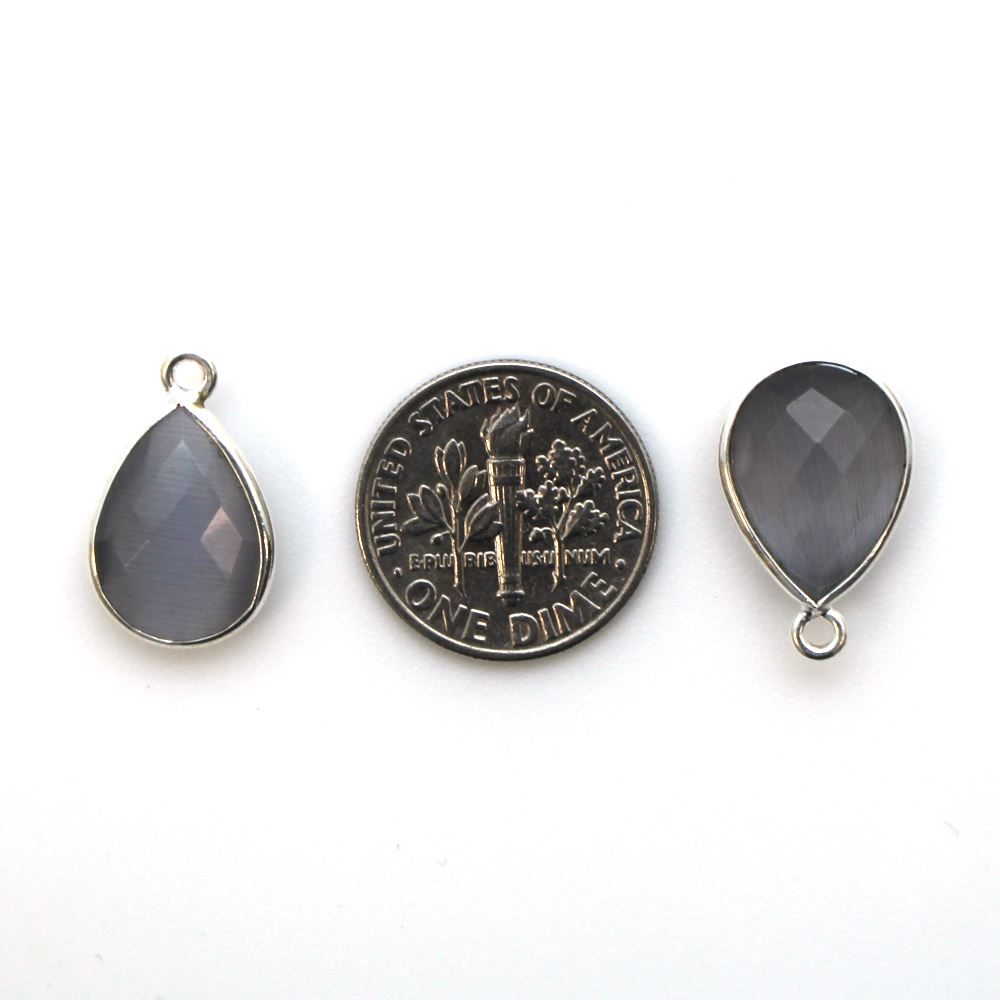 Bezel Gemstone Pendant -Sterling Silver Gem- 10x14mm Faceted Small Teardop Shape - Grey Monalisa (sold per 2 pieces)