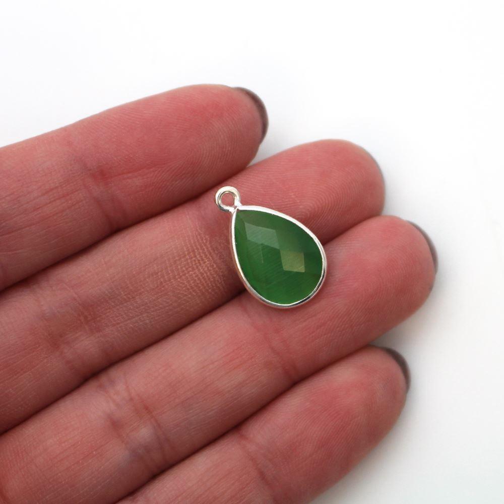 Bezel Gemstone Pendant -Sterling Silver Gem- 10x14mm Faceted Small Teardop Shape - Green Monalisa (sold per 2 pieces)