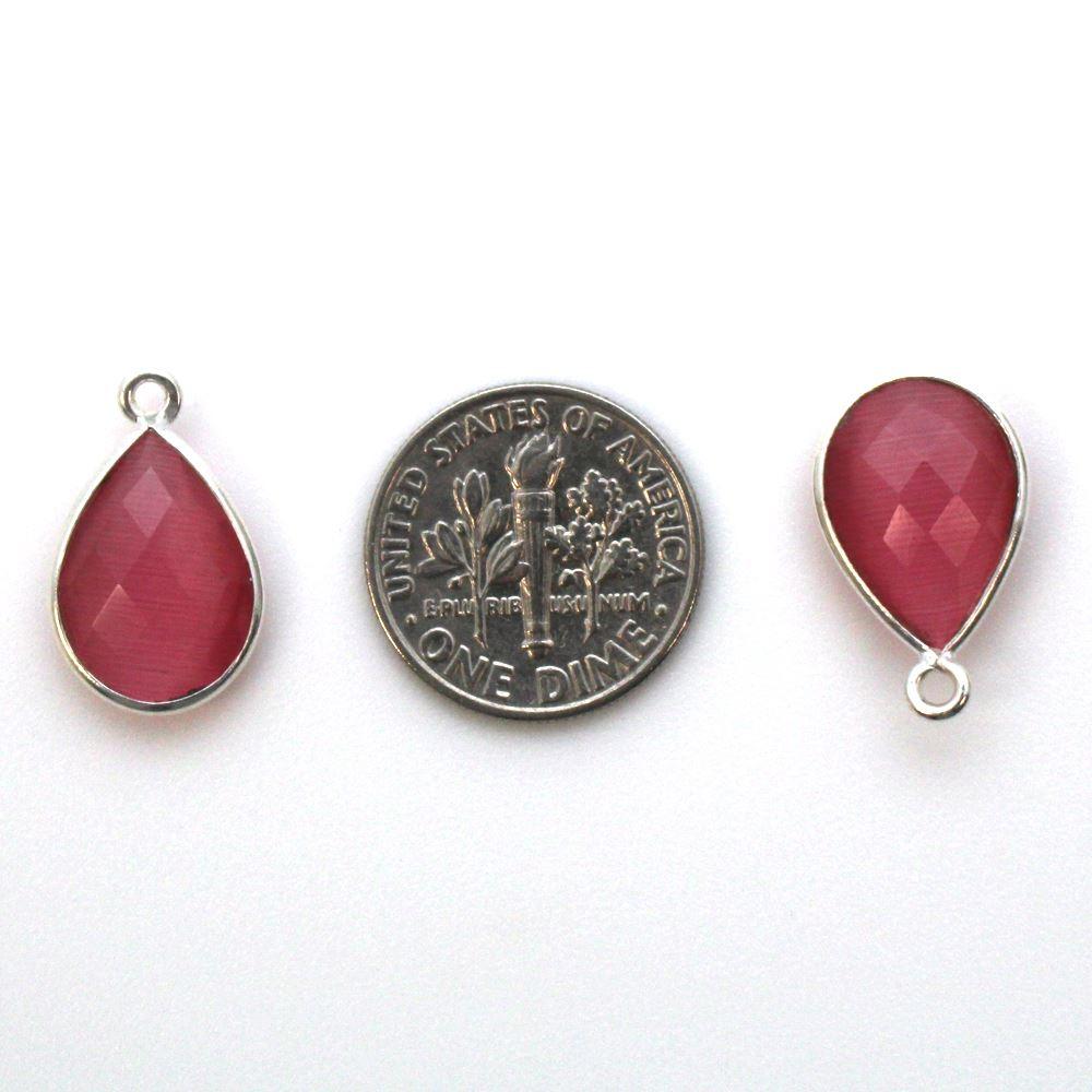 Bezel Gemstone Pendant -Sterling Silver Gem- 10x14mm Faceted Small Teardop Shape - Pink Monalisa (sold per 2 pieces)