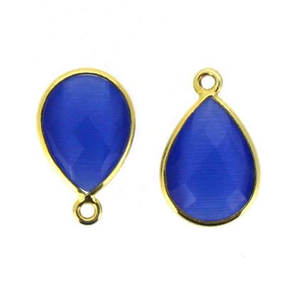 Bezel Gemstone Pendant - 10x14mm Faceted Small Teardop Shape - Blue Monalisa (Sold per 2 pieces)