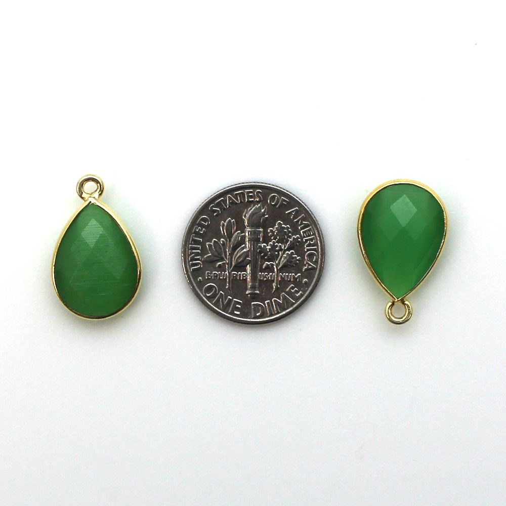 Bezel Gemstone Pendant - 10x14mm Faceted Small Teardop Shape - Green Monalisa (Sold per 2 pieces)