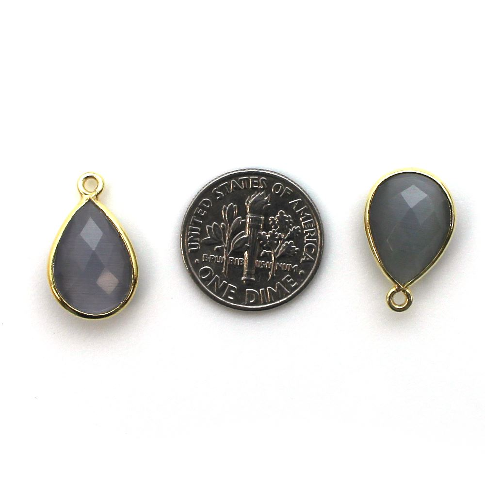 Bezel Gemstone Pendant - 10x14mm Faceted Small Teardop Shape - Grey Monalisa (Sold per 2 pieces)