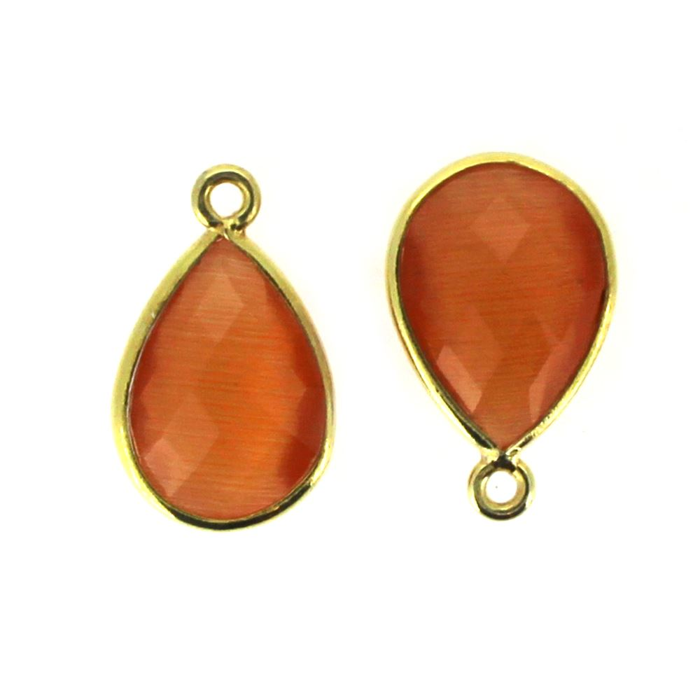 Bezel Gemstone Pendant - 10x14mm Faceted Small Teardop Shape - Orange Monalisa (Sold per 2 pieces)
