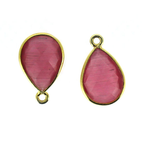 Bezel Gemstone Pendant - 10x14mm Faceted Small Teardop Shape - Pink Monalisa (Sold per 2 pieces)
