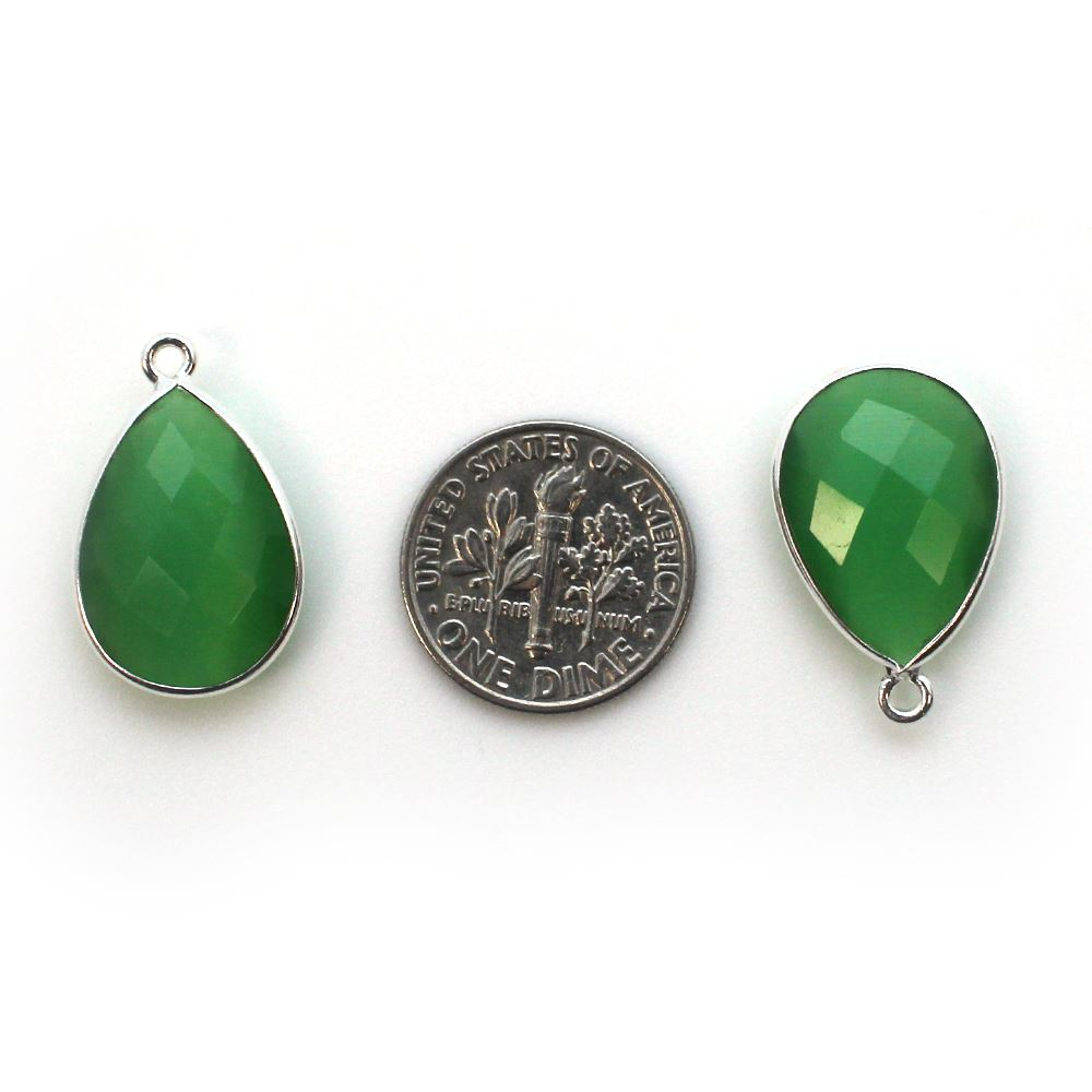 Bezel Gem Pendant - Sterling Silver - 13x18mm Faceted Pear - Green Monalisa (Sold per 2 pieces)