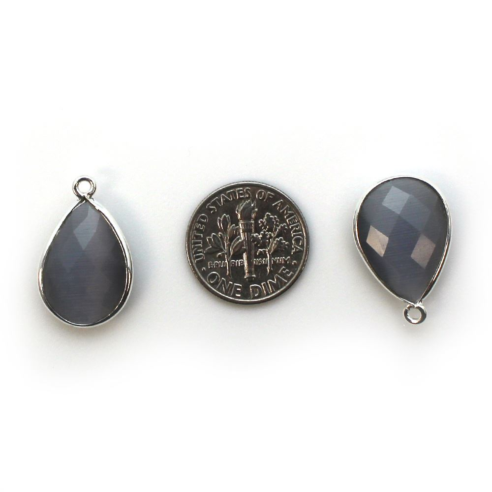 Bezel Gem Pendant - Sterling Silver - 13x18mm Faceted Pear - Grey Monalisa (Sold per 2 pieces)
