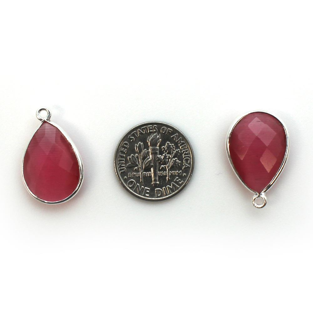 Bezel Gem Pendant - Sterling Silver - 13x18mm Faceted Pear - Pink Monalisa (Sold per 2 pieces)