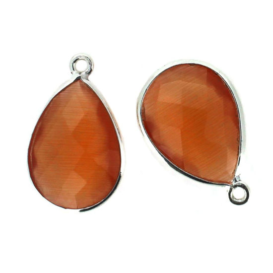 Bezel Gem Pendant - Sterling Silver - 13x18mm Faceted Pear - Orange Monalisa (Sold per 2 pieces)