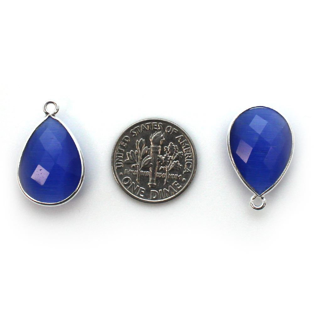 Bezel Gem Pendant - Sterling Silver - 13x18mm Faceted Pear - Blue Monalisa (Sold per 2 pieces)