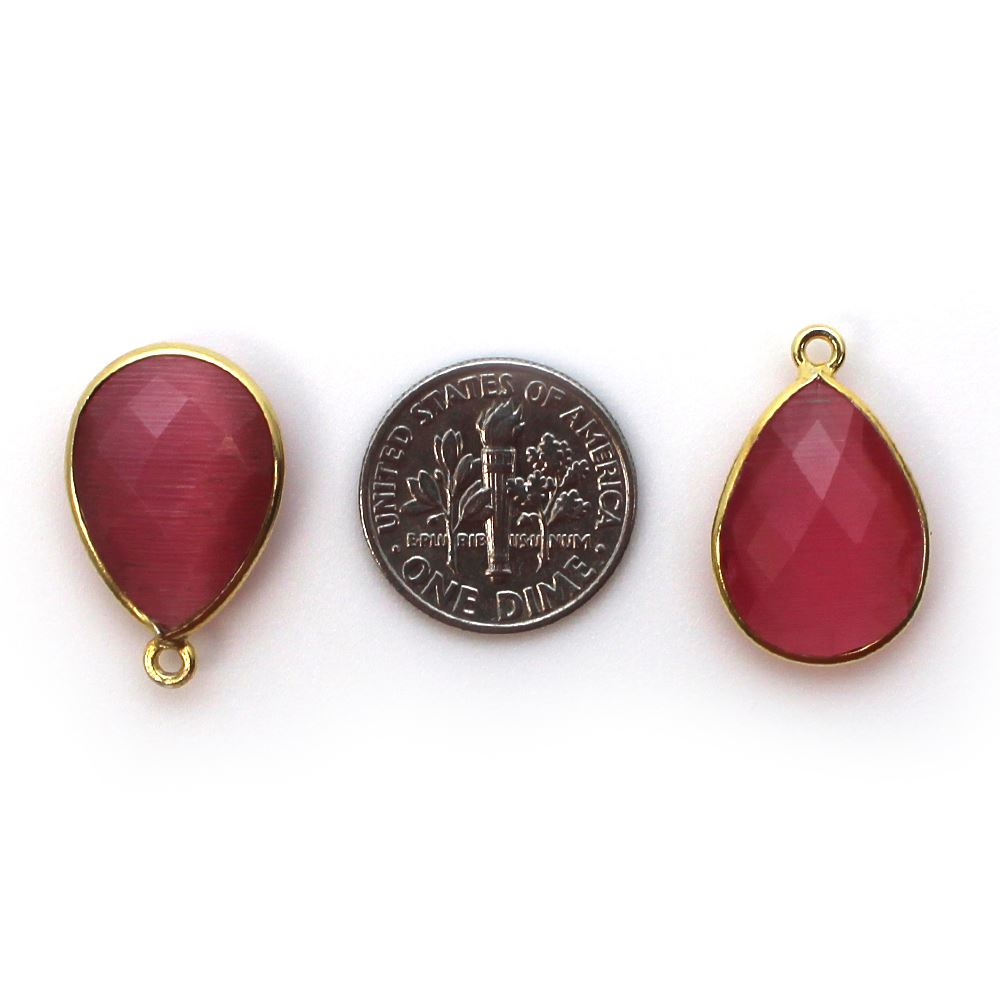 Bezel Gemstone Pendant - 13x18mm Faceted Pear Shape - Pink Monalisa (Sold per 2 pieces)