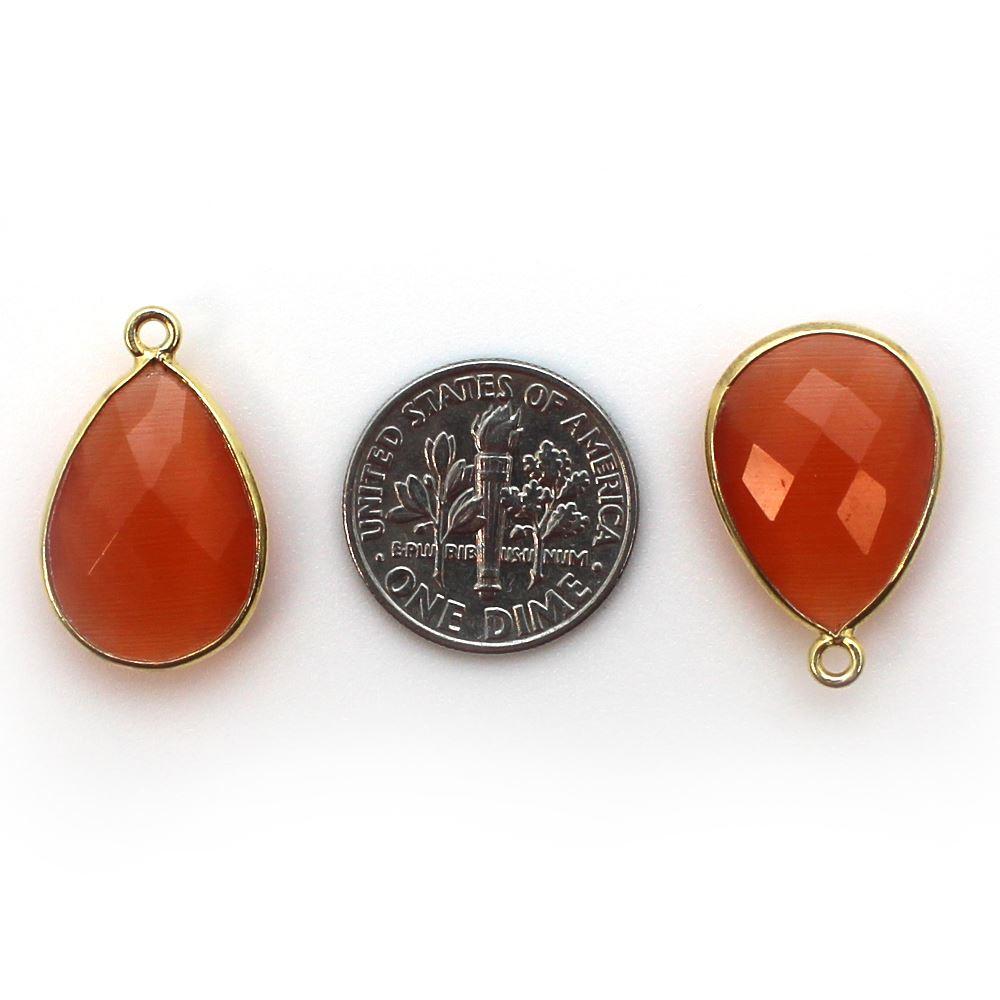 Bezel Gemstone Pendant - 13x18mm Faceted Pear Shape - Orange Monalisa (Sold per 2 pieces)