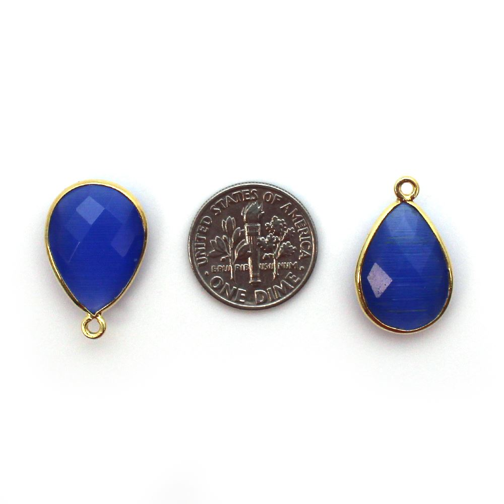 Bezel Gemstone Pendant - 13x18mm Faceted Pear Shape - Blue Monalisa (Sold per 2 pieces)