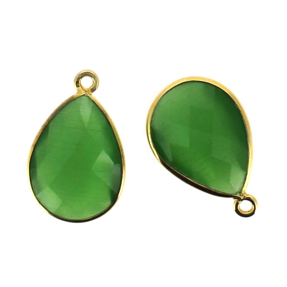 Bezel Gemstone Pendant - 13x18mm Faceted Pear Shape - Green Monalisa (Sold per 2 pieces)