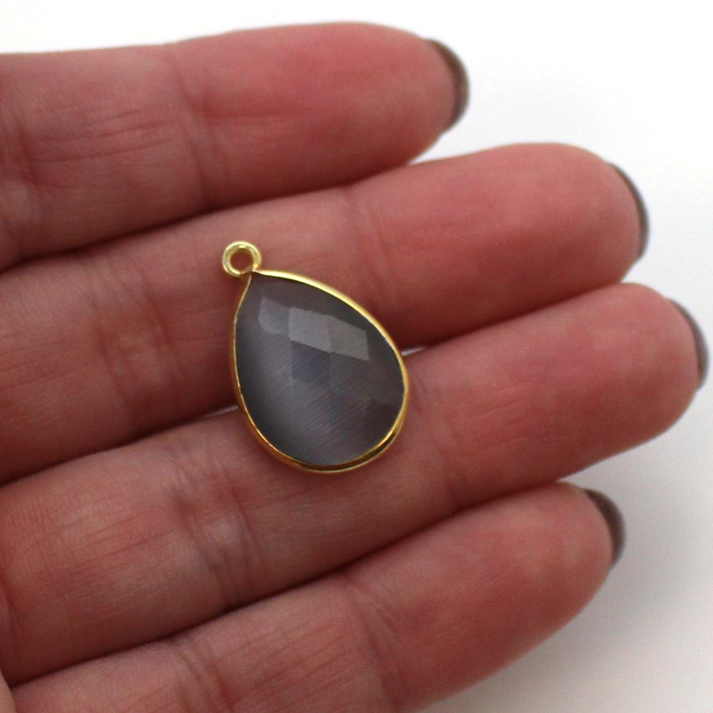 Bezel Gemstone Pendant - 13x18mm Faceted Pear Shape - Grey Monalisa (Sold per 2 pieces)