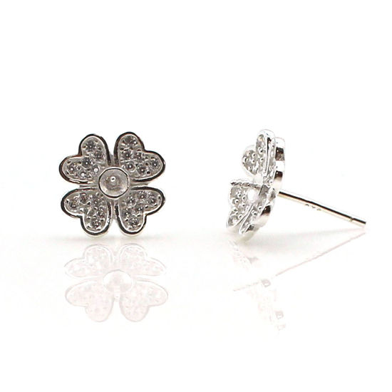 Sterling Silver Earring Findings, Pearl Stud Findings-CZ Cubic Zirconia Stone, Flower Earwire with Peg Bail, Bridal Earrings (1 pair)