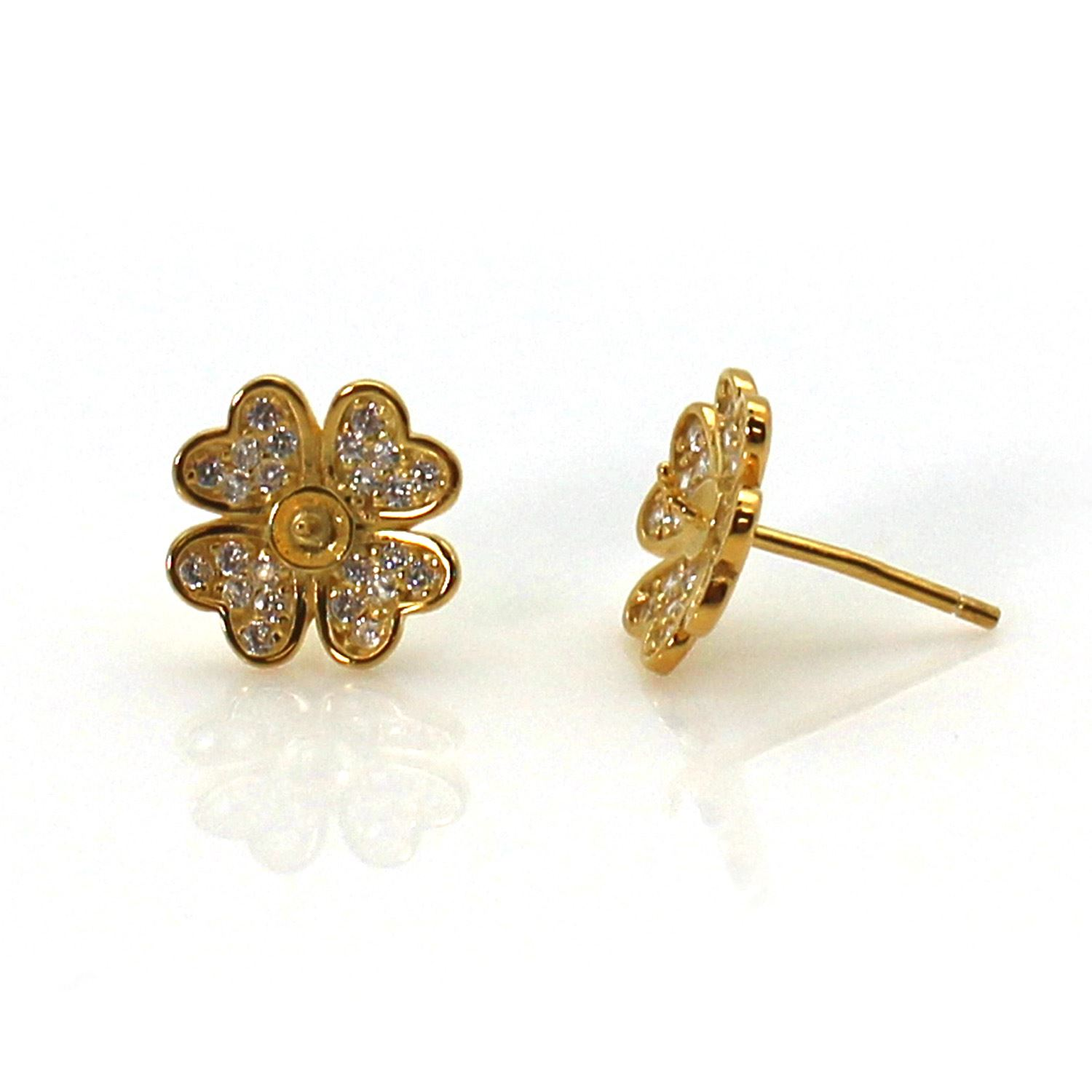Gold Plated Sterling Silver Earring Findings, Pearl Stud Findings-CZ Cubic Zirconia Stone, Flower Earwire with Peg Bail, Bridal Earrings (1 pair)