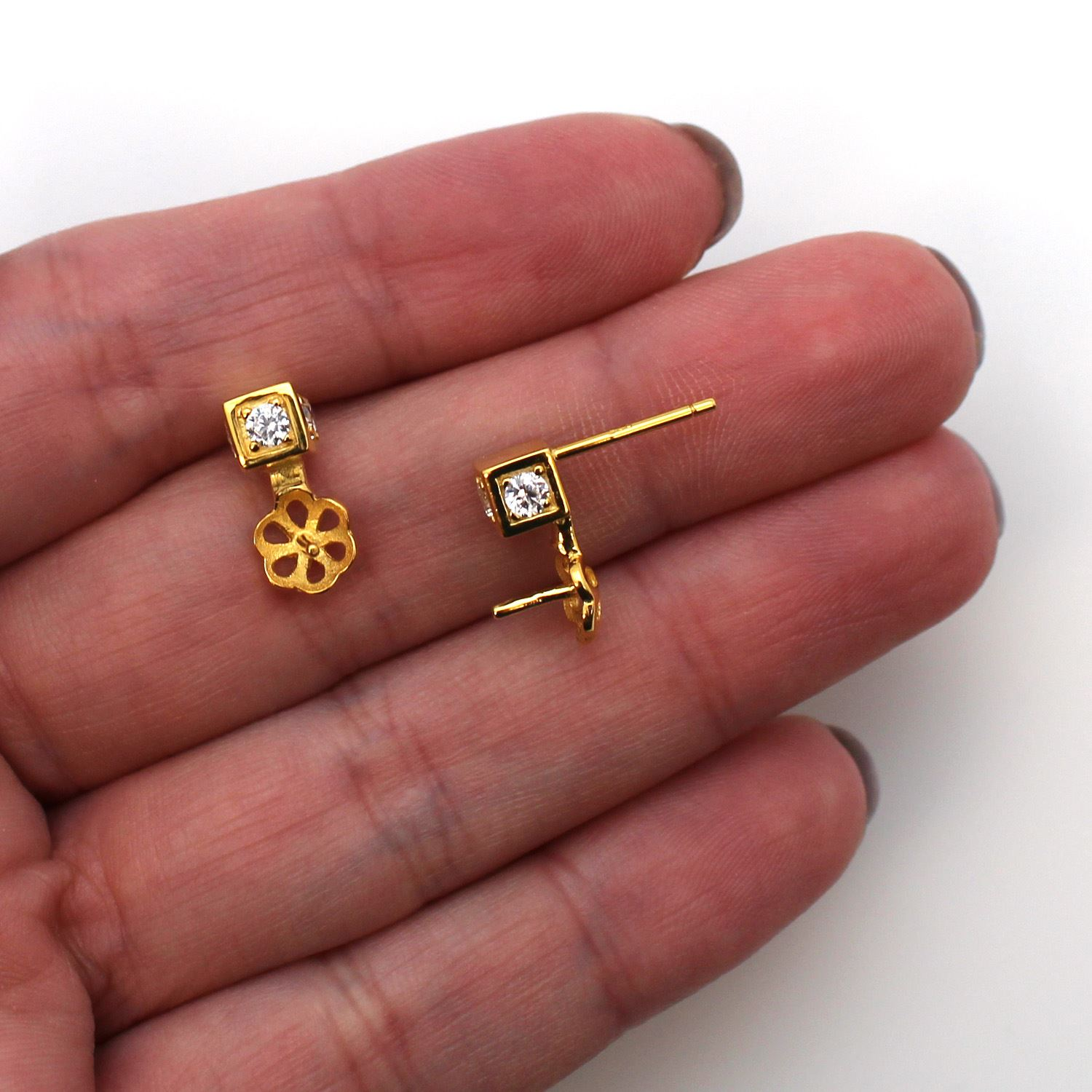 Gold Plated Sterling Silver Earring Findings, Square CZ Stone Stud with Pearl Cup and Peg, Bridal Earrings (1 pair)