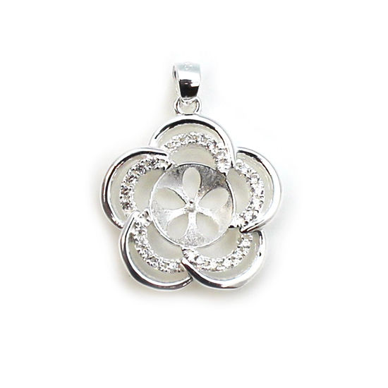 Sterling Silver and CZ Stone Fancy Flower Pearl Cup Bail for Half-Drilled Pearls