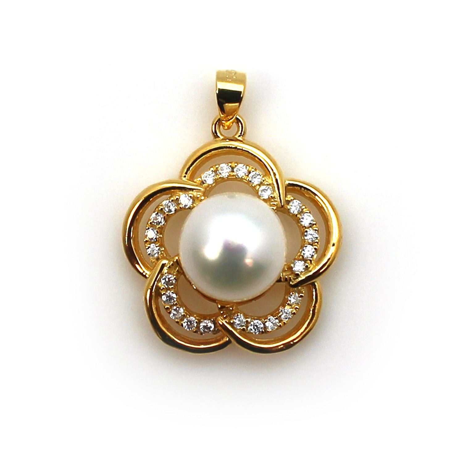 Gold Plated Sterling Silver and CZ Stone Fancy Flower Pearl Cup Bail for Half-Drilled Pearls