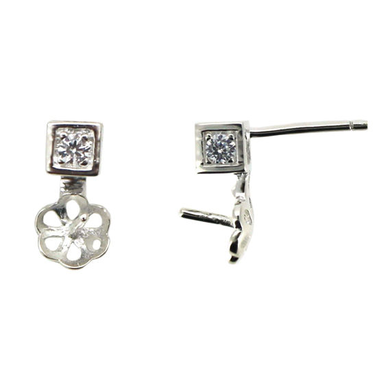 Sterling Silver Earring Findings, Square CZ Stone Stud with Pearl Cup and Peg, Bridal Earrings (1 pair)