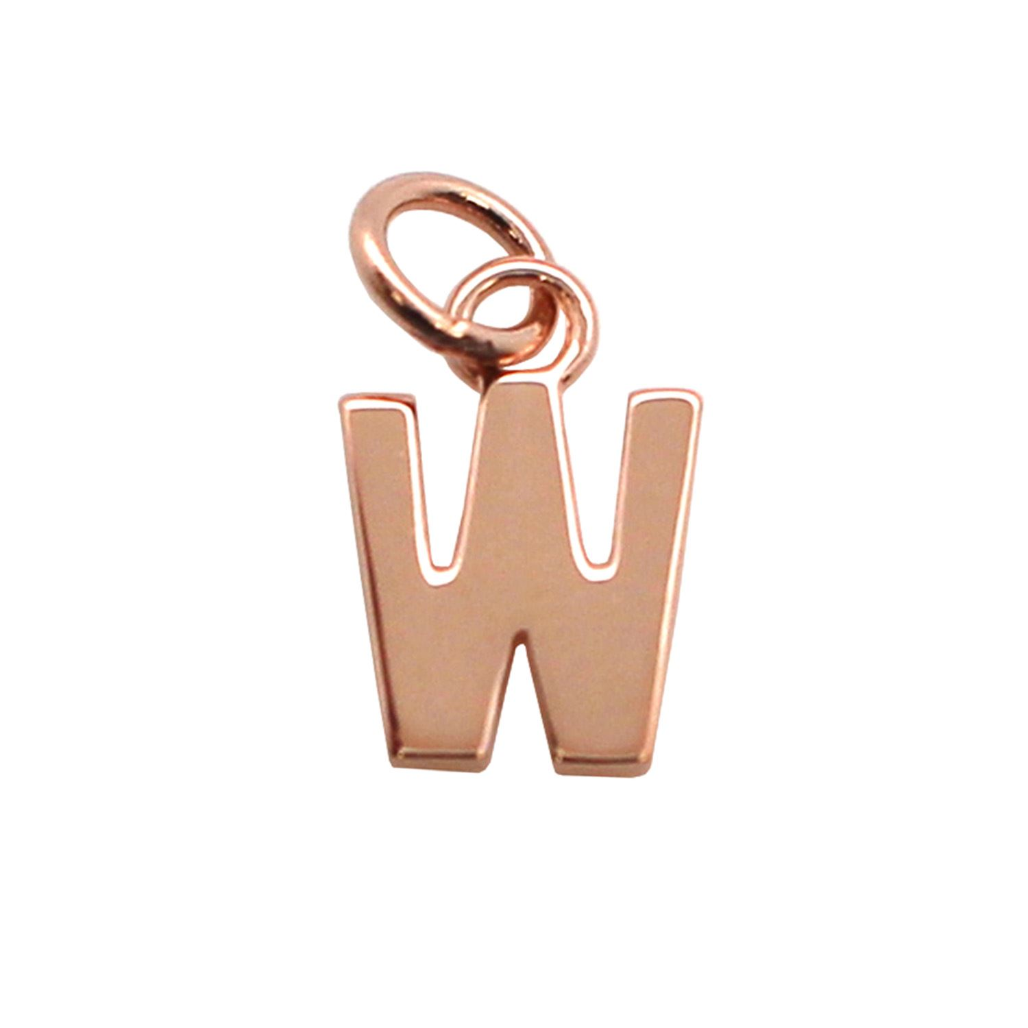 Smooth Rose Gold Plated over Sterling Silver Letter Charms - A-Z Letter Pendant