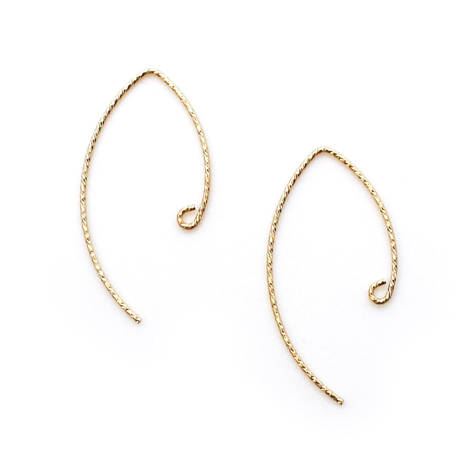 1/20 14K Gold Filled Earwires - Sparkle V Shape Ear Wires - Marquise Ear Wires (1 pair)