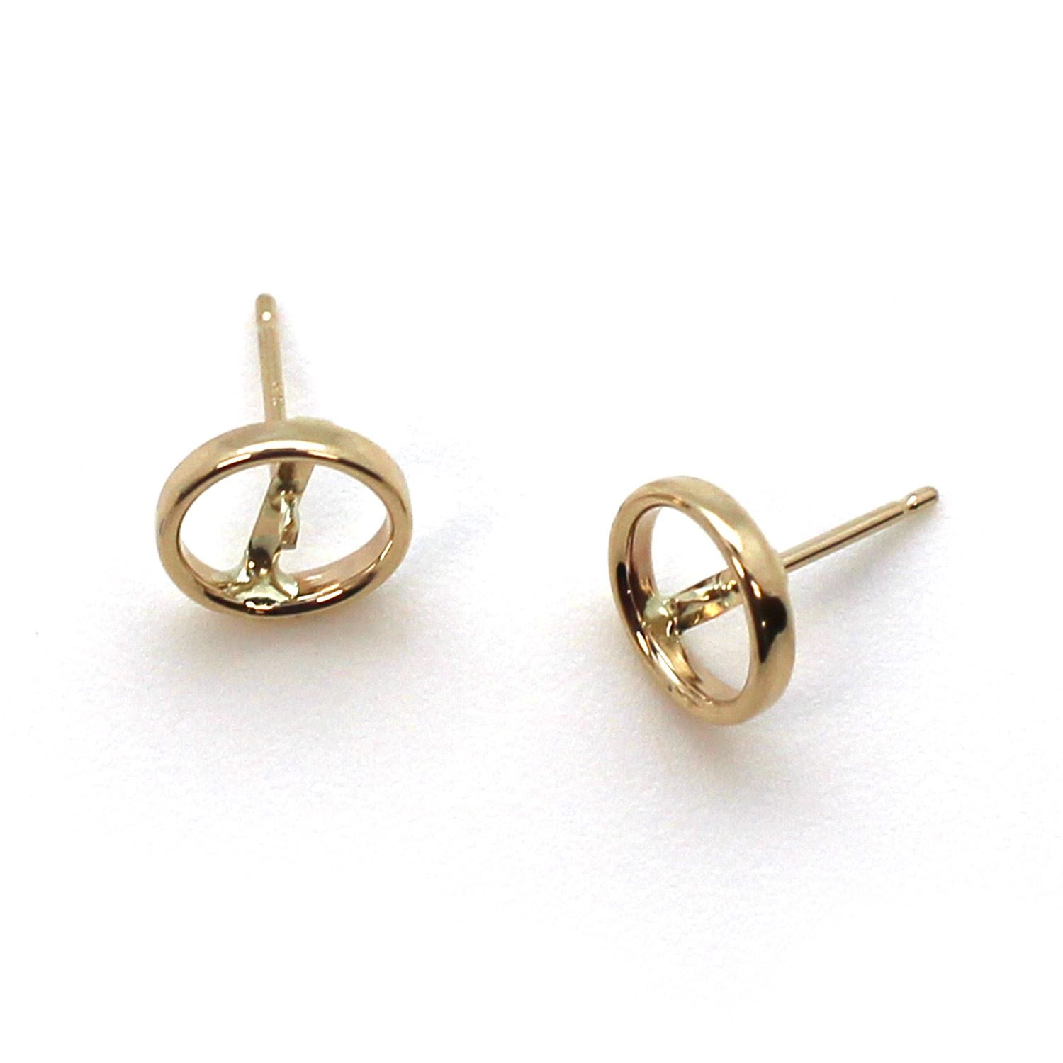 14K Yellow Gold Bezel Post for 7-7.5mm Pearls (1 pair)
