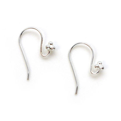 Sterling Silver Fancy Fishhook Ball End Earwire with 4 Balls, Earring Findings (4 pcs - 2 pair)