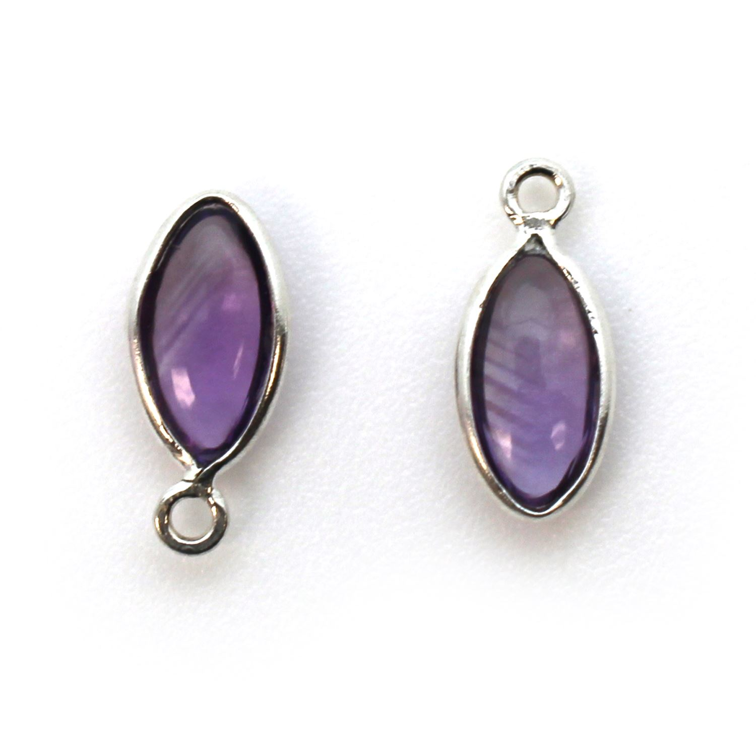 Bezel Charm Pendant - Sterling Silver Charm - Natural Amethyst -Tiny Marquise Shape -6x13mm