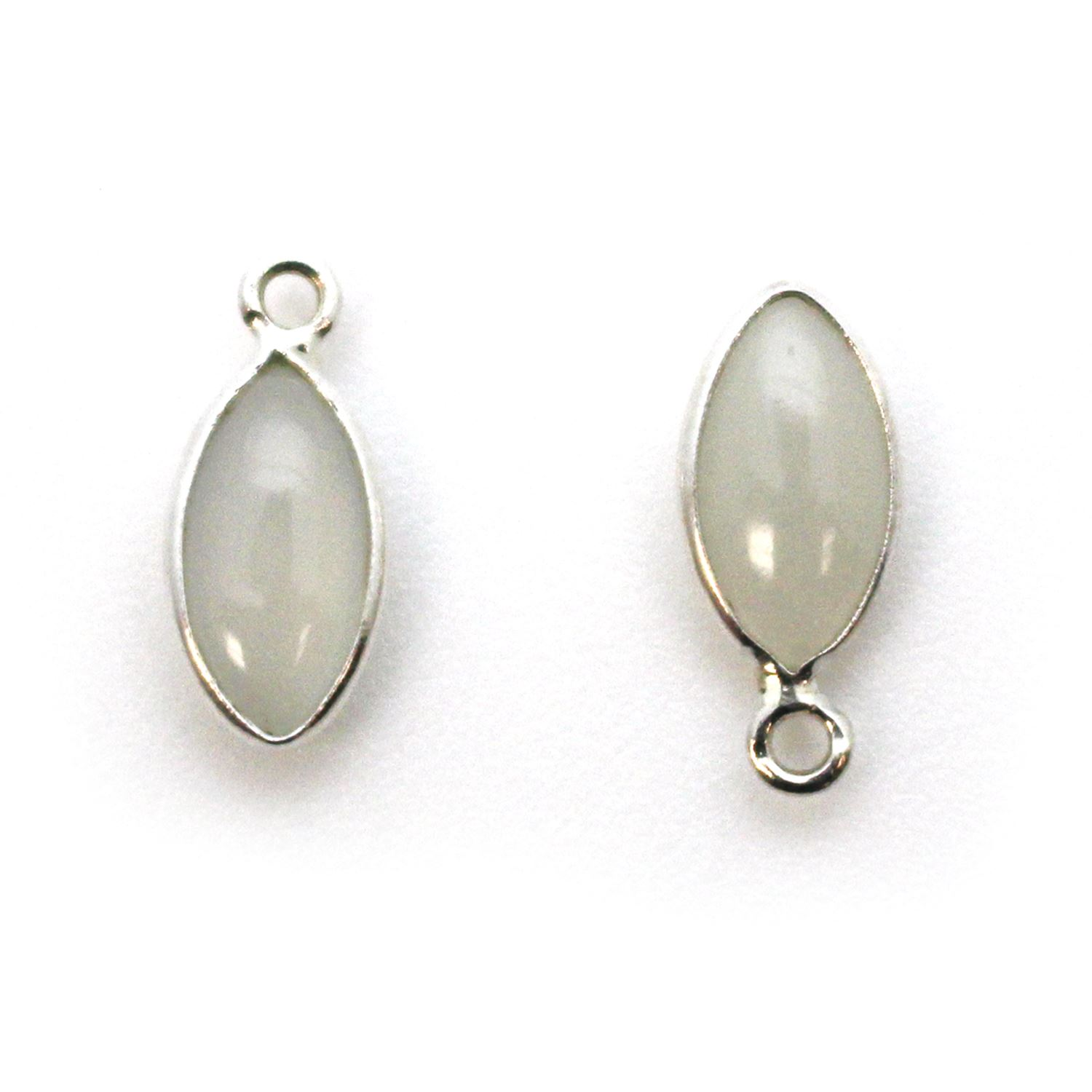 Bezel Charm Pendant - Sterling Silver Charm - Natural Moonstone - Tiny Marquise Shape -6x13mm